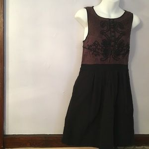 Anthropologie brown & black small dress w/ pockets